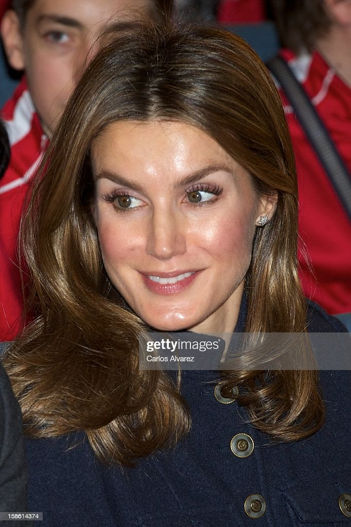 Princess Letizia of Spain attends 'A Que Sabe este Libro' exhibition at Cuartel Conde Duque on December 21, 2012 in Madrid, Spain.