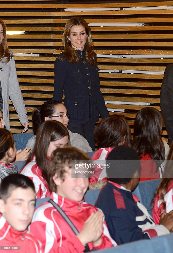 Princess <a gi-track='captionPersonalityLinkClicked' href=/galleries/search?phrase=Letizia+of+Spain&family=editorial&specificpeople=158373 ng-click='$event.stopPropagation()'>Letizia of Spain</a> attends 'A Que Sabe Este Libro' exhibition at Cuartel Conde Duque on December 21, 2012 in Madrid, Spain.