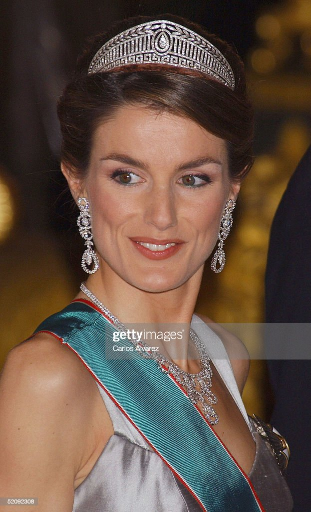 Princess Letizia of Spain attends a reception for the Hungarian President and his wife at a Gala Dinner at the Royal Palace in Madrid on January 31, 2005 in Madrid, Spain.