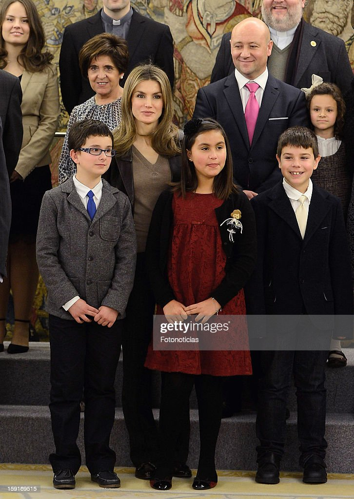 Princess <a gi-track='captionPersonalityLinkClicked' href=/galleries/search?phrase=Letizia+of+Spain&family=editorial&specificpeople=158373 ng-click='$event.stopPropagation()'>Letizia of Spain</a> (C) attends an audience at Zarzuela Palace on January 9, 2013 in Madrid, Spain.