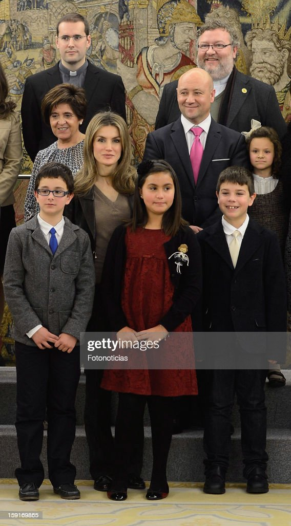 Princess <a gi-track='captionPersonalityLinkClicked' href=/galleries/search?phrase=Letizia+of+Spain&family=editorial&specificpeople=158373 ng-click='$event.stopPropagation()'>Letizia of Spain</a> (centre L) attends an audience at Zarzuela Palace on January 9, 2013 in Madrid, Spain.