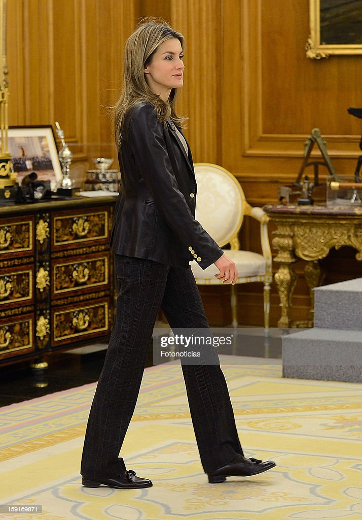 Princess Letizia of Spain attends an audience at Zarzuela Palace on January 9, 2013 in Madrid, Spain.