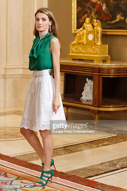 Princess Letizia of Spain attends audiences at Zarzuela Palace on July 17 2013 in Madrid Spain