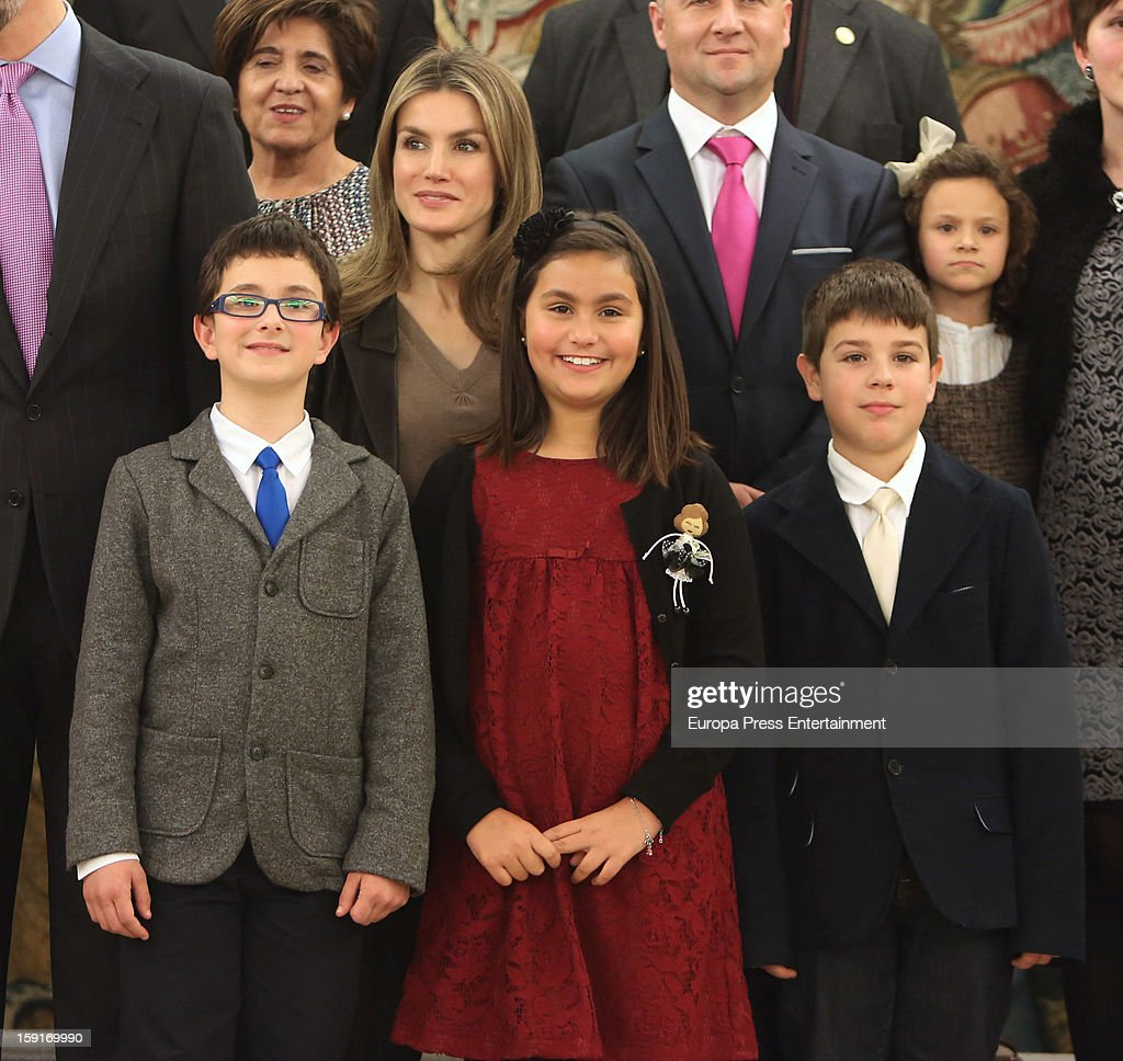 Princess <a gi-track='captionPersonalityLinkClicked' href=/galleries/search?phrase=Letizia+of+Spain&family=editorial&specificpeople=158373 ng-click='$event.stopPropagation()'>Letizia of Spain</a> (centre L) attends audiences at Zarzuela Palace on January 9, 2013 in Madrid, Spain.