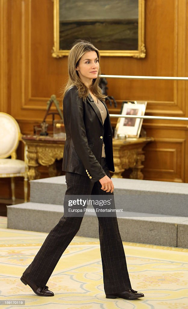 Princess <a gi-track='captionPersonalityLinkClicked' href=/galleries/search?phrase=Letizia+of+Spain&family=editorial&specificpeople=158373 ng-click='$event.stopPropagation()'>Letizia of Spain</a> attends audiences at Zarzuela Palace on January 9, 2013 in Madrid, Spain.