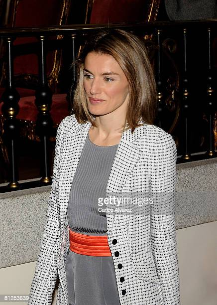 Princess Letizia of Spain attends Caja Madrid Foundation Grants on May 28 2008 at the 'San Fernando' Museum in Madrid Spain