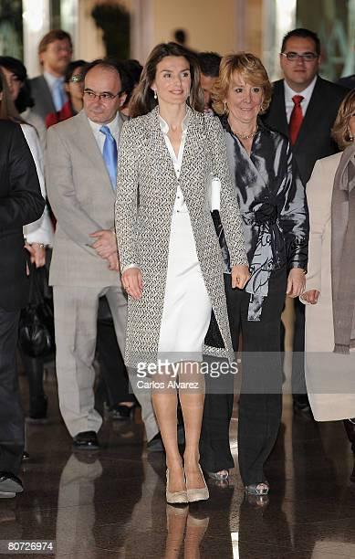 Princess Letizia of Spain attends 'Institucion del Defensor del Menor' Award on April 17 2008 at National Auditorium in Madrid Spain