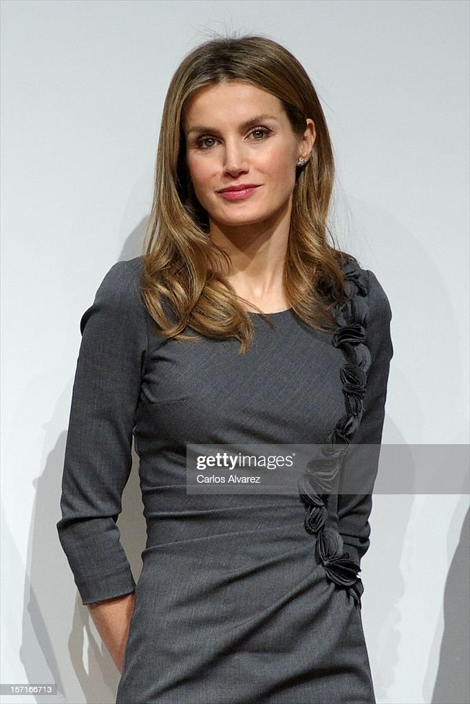 Princess <a gi-track='captionPersonalityLinkClicked' href=/galleries/search?phrase=Letizia+of+Spain&family=editorial&specificpeople=158373 ng-click='$event.stopPropagation()'>Letizia of Spain</a> attends Premios Magisterio 2012 at Caixa Forum on November 29, 2012 in Madrid, Spain.