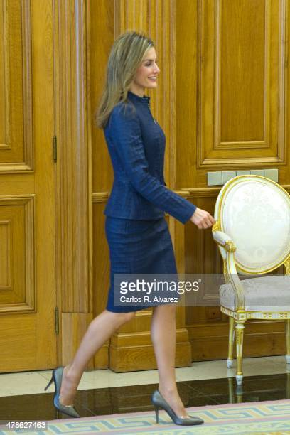 Princess Letizia of Spain attends several audiences at the Zarzuela Palace on March 14 2014 in Madrid Spain