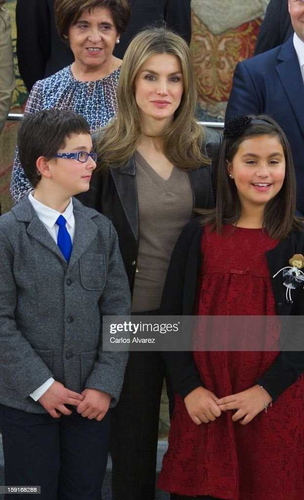Princess Letizia of Spain (C) attends several audiences at Zarzuela Palace on January 9, 2013 in Madrid, Spain.