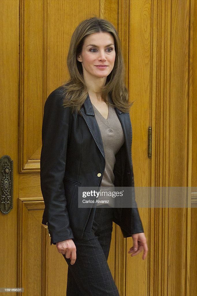 Princess Letizia of Spain attends several audiences at Zarzuela Palace on January 9, 2013 in Madrid, Spain.