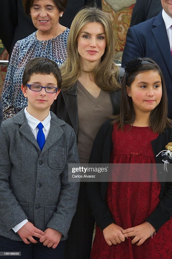 Princess <a gi-track='captionPersonalityLinkClicked' href=/galleries/search?phrase=Letizia+of+Spain&family=editorial&specificpeople=158373 ng-click='$event.stopPropagation()'>Letizia of Spain</a> (C) attends several audiences at Zarzuela Palace on January 9, 2013 in Madrid, Spain.