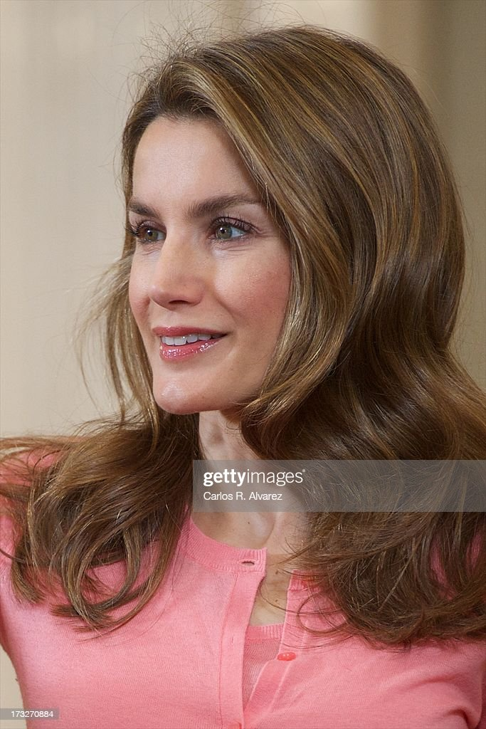 Princess <a gi-track='captionPersonalityLinkClicked' href=/galleries/search?phrase=Letizia+of+Spain&family=editorial&specificpeople=158373 ng-click='$event.stopPropagation()'>Letizia of Spain</a> attends several audiences at Zarzuela Palace on July 11, 2013 in Madrid, Spain.