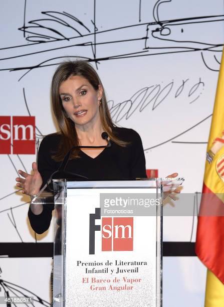 Princess Letizia of Spain attends the 'El Barco de Vapor' and 'Gran Angular' children and youth literary awards ceremony at the Real Casa de Correos...