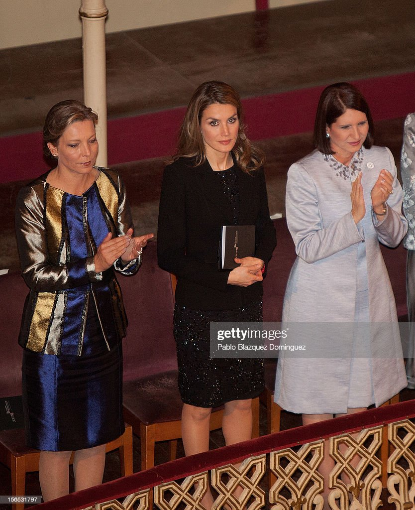 Princess <a gi-track='captionPersonalityLinkClicked' href=/galleries/search?phrase=Letizia+of+Spain&family=editorial&specificpeople=158373 ng-click='$event.stopPropagation()'>Letizia of Spain</a> (C) attends the opening ceremony of the the XXII Ibero-American Summit at Falla Theatre on November 16, 2012 in Cadiz, Spain. The 22nd Ibero-American Summit is Mariano Rajoy's first as President of Spain and will be attended by 16 Foreign Affairs ministers. The main issues of the meeting will be the economic crisis and how Latin American countries can contribute to the Eurozone recovery.