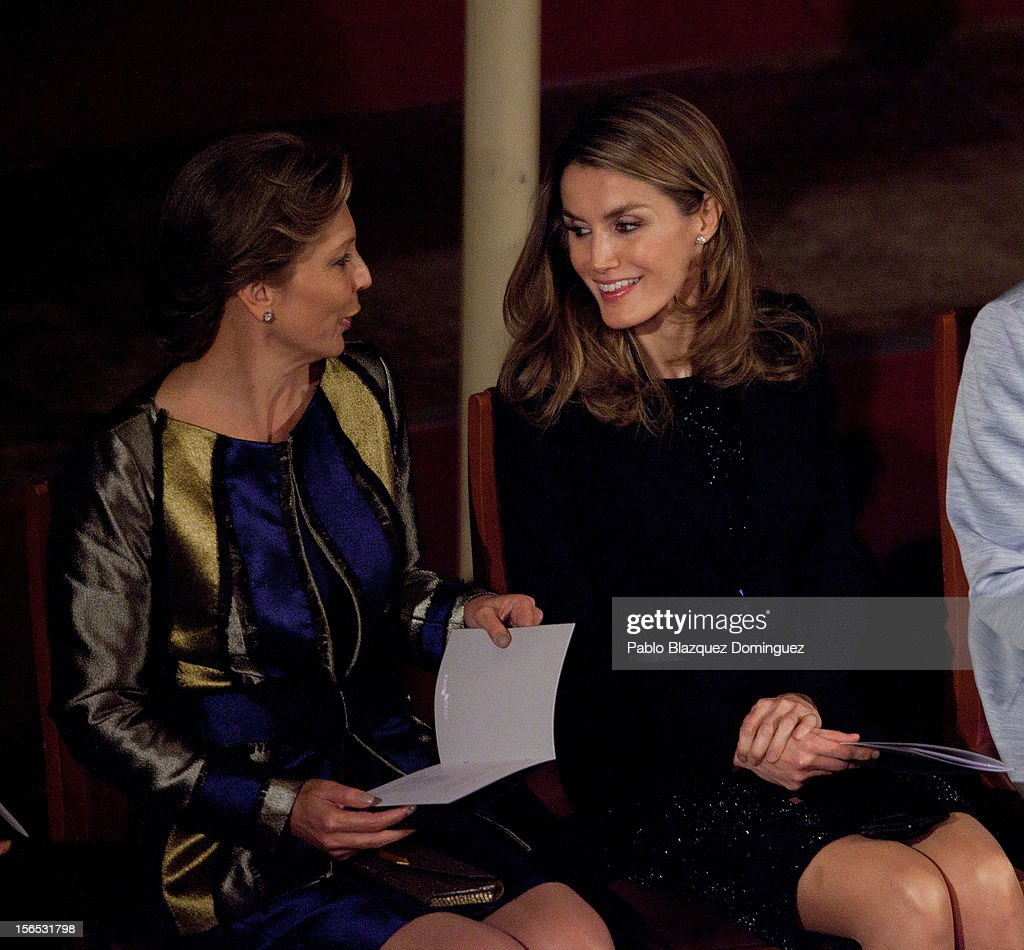 Princess <a gi-track='captionPersonalityLinkClicked' href=/galleries/search?phrase=Letizia+of+Spain&family=editorial&specificpeople=158373 ng-click='$event.stopPropagation()'>Letizia of Spain</a> (R) attends the opening ceremony of the the XXII Ibero-American Summit at Falla Theatre on November 16, 2012 in Cadiz, Spain. The 22nd Ibero-American Summit is Mariano Rajoy's first as President of Spain and will be attended by 16 Foreign Affairs ministers. The main issues of the meeting will be the economic crisis and how Latin American countries can contribute to the Eurozone recovery.