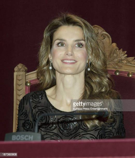 Princess Letizia of Spain attends 'The Royal Academy of Language' income act For Carme Riera on November 7 2013 in Madrid Spain