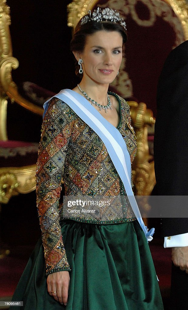 Princess Letizia of Spain attends the Royal Gala Dinner in honour of Rumanian President Traian Basescu and his wife at the Royal Palace on November 26, 2007 in Madrid, Spain