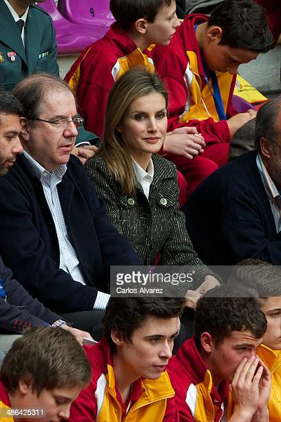 Princess Letizia of Spain attends the Volleyball Spanish Scholarship competition 2014 at the Pisuerga stadium on April 24 2014 in Valladolid Spain