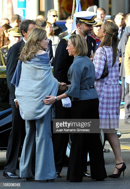Princess Letizia of Spain Carme Chacon Prince Felipe of Spain and Princess Elena of Spain attend National Day Military Parade in the Paseo de la...
