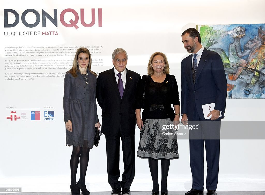 Princess Letizia of Spain, Chile President Sebastian Pinera, his wife <a gi-track='captionPersonalityLinkClicked' href=/galleries/search?phrase=Cecilia+Morel&family=editorial&specificpeople=2092608 ng-click='$event.stopPropagation()'>Cecilia Morel</a> de Pinera and Prince Felipe of Spain visit the Cervantes Institute on March 8, 2011 in Madrid, Spain.