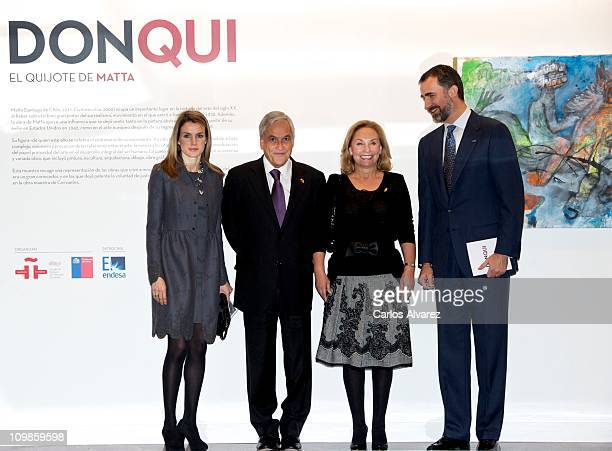Princess Letizia of Spain Chile President Sebastian Pinera his wife Cecilia Morel de Pinera and Prince Felipe of Spain visit the Cervantes Institute...