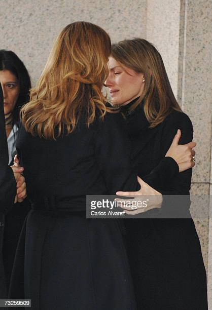 Princess Letizia of Spain embraces Princess Cristina at the funeral for Erika Ortiz younger sister of Princess Letiza on February 08 2007 at La Paz...