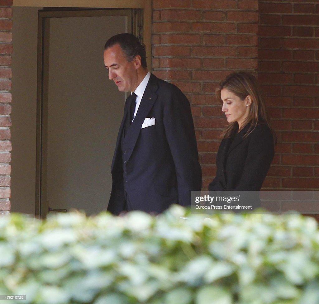 Princess Letizia of Spain expresses her condolences to Jaime de Marichalar on March 14 2014 in Madrid Spain Princess Elena of Spain's ex motherinlaw...