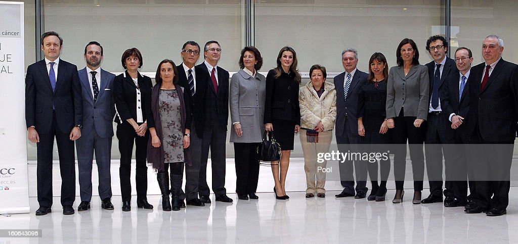 Princess Letizia of Spain , honorary president of the Spanish Association Against Cancer, poses beside the secretary general of Health, Pilar Farjas (7th R), and other participants at the second annual forum 'For a comprehensive approach. Catch it early, you can save your life', at Corporate and Social Headquarters Garrigues on February 04, 2013 in Madrid, Spain.