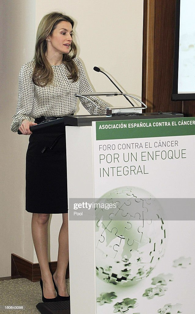 Princess <a gi-track='captionPersonalityLinkClicked' href=/galleries/search?phrase=Letizia+of+Spain&family=editorial&specificpeople=158373 ng-click='$event.stopPropagation()'>Letizia of Spain</a>, honorary president of the Spanish Association Against Cancer, speaks at the second annual forum 'For a comprehensive approach. Catch it early, you can save your life', at Corporate and Social Headquarters Garrigues on February 04, 2013 in Madrid, Spain.
