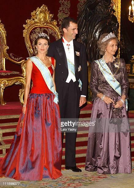 Princess Letizia of Spain HRH Crown Prince Felipe and Queen Sofia of Spain