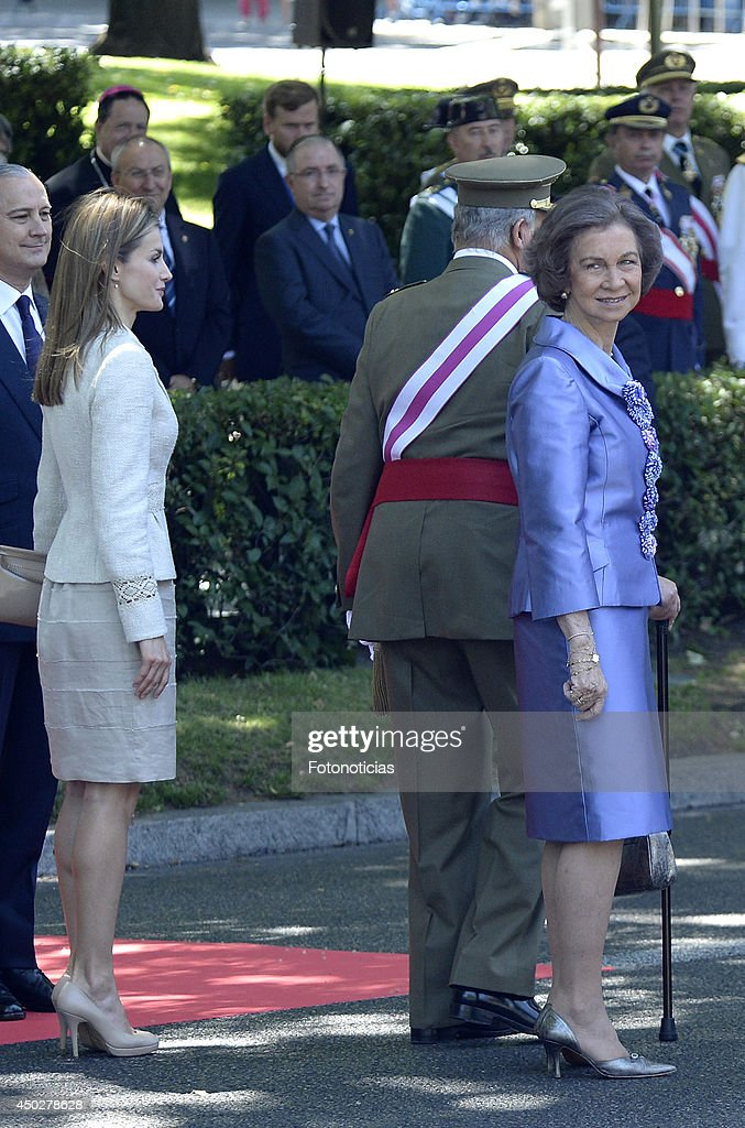 Princess Letizia of Spain King Juan Carlos of Spain and Queen Sofia of Spain attend the Armed Forces Day celebration at Plaza de la Lealtad on June 8...
