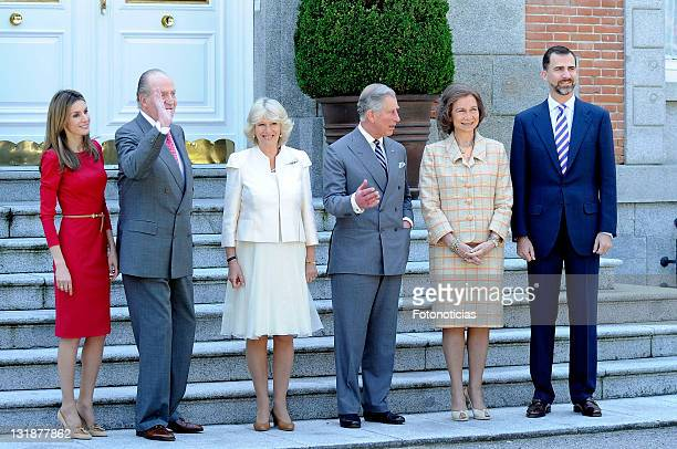 Princess Letizia of Spain King Juan Carlos of Spain Camilla Duchess of Cornwall Prince Charles Prince of Wales Queen Sofia of Spain and Prince Felipe...