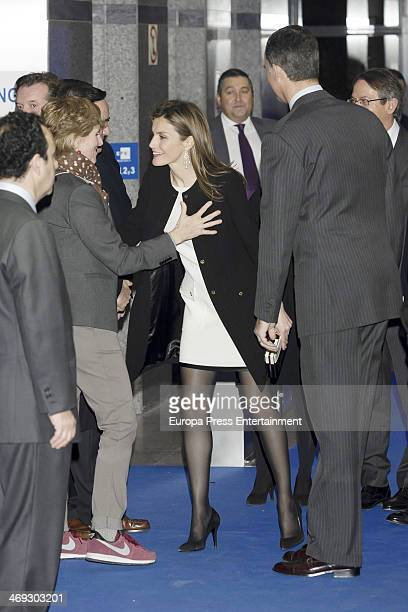 Princess Letizia of Spain Mercedes Mila and Prince Felipe of Spain attend the opening of the new headquarters of EFE press agency on February 13 2014...