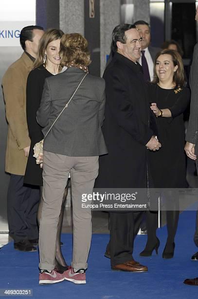 Princess Letizia of Spain Mercedes Mila Jose Bono and Soraya Saenz de Santamaria attend the opening of the new headquarters of EFE press agency on...