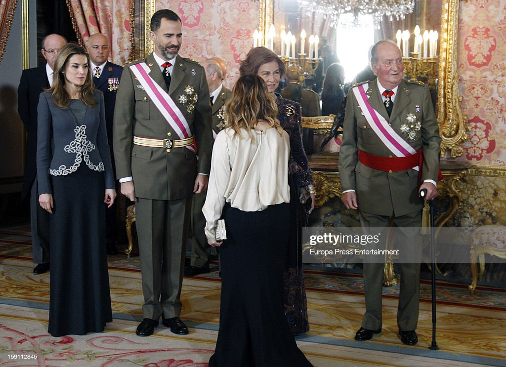 Princess <a gi-track='captionPersonalityLinkClicked' href=/galleries/search?phrase=Letizia+of+Spain&family=editorial&specificpeople=158373 ng-click='$event.stopPropagation()'>Letizia of Spain</a>, Prince Felipe de Borbon, <a gi-track='captionPersonalityLinkClicked' href=/galleries/search?phrase=Queen+Sofia+of+Spain&family=editorial&specificpeople=160333 ng-click='$event.stopPropagation()'>Queen Sofia of Spain</a> and King <a gi-track='captionPersonalityLinkClicked' href=/galleries/search?phrase=Juan+Carlos+I&family=editorial&specificpeople=159452 ng-click='$event.stopPropagation()'>Juan Carlos I</a> of Spain attend the New Year's Military Parade on January 6, 2013 in Madrid, Spain.