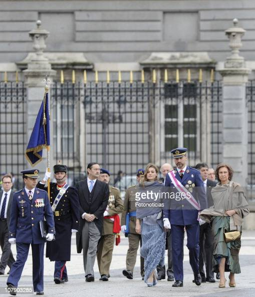 Princess Letizia of Spain Prince Felipe of Spain and Queen Sofia of Spain attend the new year Pascua Militar ceremony at The Royal Palace on January...