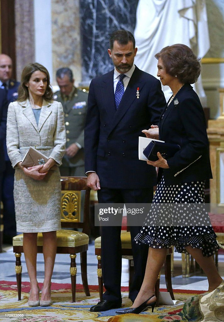 Princess <a gi-track='captionPersonalityLinkClicked' href=/galleries/search?phrase=Letizia+of+Spain&family=editorial&specificpeople=158373 ng-click='$event.stopPropagation()'>Letizia of Spain</a>, Prince Felipe of Spain and <a gi-track='captionPersonalityLinkClicked' href=/galleries/search?phrase=Queen+Sofia+of+Spain&family=editorial&specificpeople=160333 ng-click='$event.stopPropagation()'>Queen Sofia of Spain</a> are seen at the Mass commemorating the centenary of the birth of Don Juan de Borbon in the chapel of the Royal Palace in Madrid, Spain on June 20, 2013. The mass was attended by the Prince of Asturias, Spain's Prime Minister Mariano Rajoy, and other senior government officials.