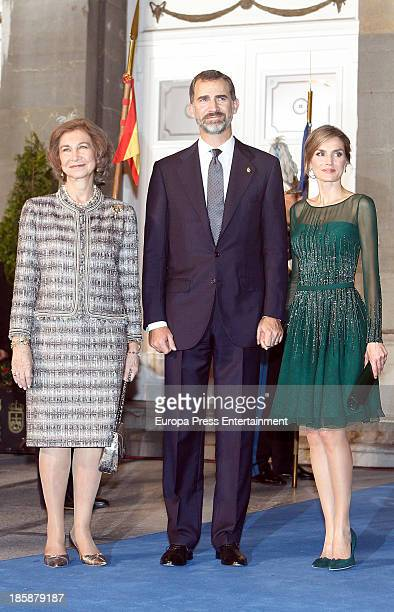 Princess Letizia of Spain Prince Felipe of Spain and Queen Sofia of Spain attend the Prince of Asturias Awards 2013 ceremony on October 25 2013 in...