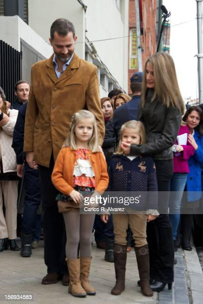 Princess Letizia of Spain Prince Felipe of Spain and their daughters Princess Leonor of Spain and Princess Sofia of Spain visit King Juan Carlos of...