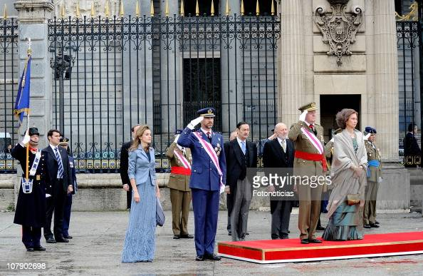 Princess Letizia of Spain Prince Felipe of Spain King Juan Carlos of Spain and Queen Sofia of Spain attend the new year Pascua Militar ceremony at...