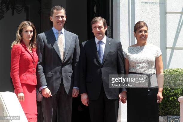 Princess Letizia of Spain Prince Felipe of Spain Pedro Passos Coelho and Laura Ferreira attend a meeting at the residence of Prime Minister Passos...
