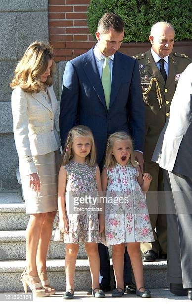 Princess Letizia of Spain Prince Felipe of Spain Princess Leonor of Spain and Princess Sofia of Spain meet Pope Benedict XVI during World Youth Day...