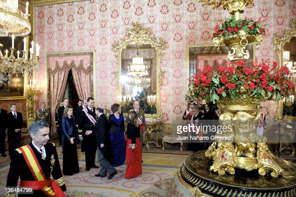 Princess Letizia of Spain Prince Felipe of Spain Queen Sofia of Spain and King Juan Carlos I of Spain attend the Pascua Militar Ceremony at Palacio...