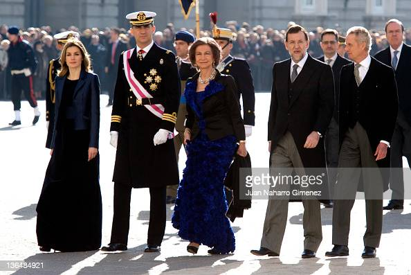 Princess Letizia of Spain Prince Felipe of Spain Queen Sofia of Spain Spain's Prime Minister Mariano Rajoy and Spain's Minister of Defense Pedro...