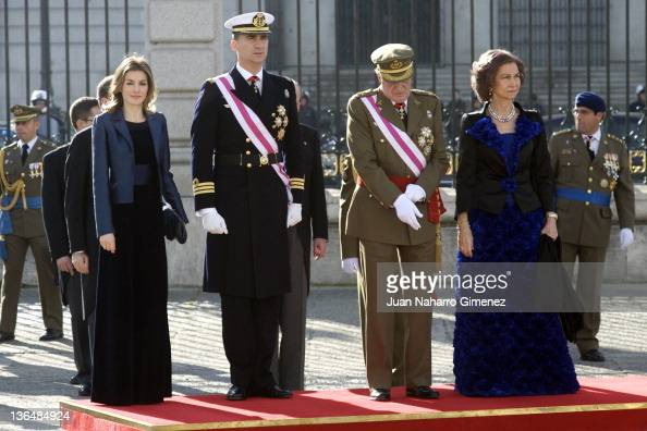 Princess Letizia of Spain Prince Felipe of Spain Queen Sofia of Spain and King Juan Carlos I of Spain attend the Pascua Militar Ceremony at Royal...