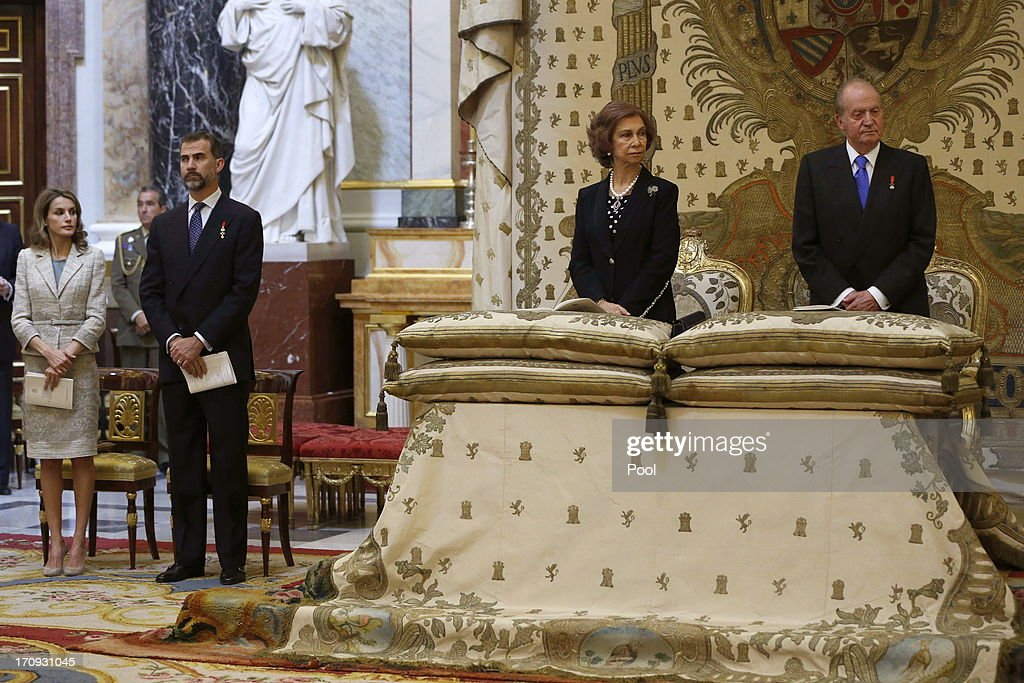 Princess <a gi-track='captionPersonalityLinkClicked' href=/galleries/search?phrase=Letizia+of+Spain&family=editorial&specificpeople=158373 ng-click='$event.stopPropagation()'>Letizia of Spain</a>, Prince Felipe of Spain, <a gi-track='captionPersonalityLinkClicked' href=/galleries/search?phrase=Queen+Sofia+of+Spain&family=editorial&specificpeople=160333 ng-click='$event.stopPropagation()'>Queen Sofia of Spain</a> and King Juan Carlos of Spain are seen at the Mass commemorating the centenary of the birth of Don Juan de Borbon in the chapel of the Royal Palace in Madrid, Spain on June 20, 2013. The mass was attended by the Prince of Asturias, Spain's Prime Minister Mariano Rajoy, and other senior government officials.