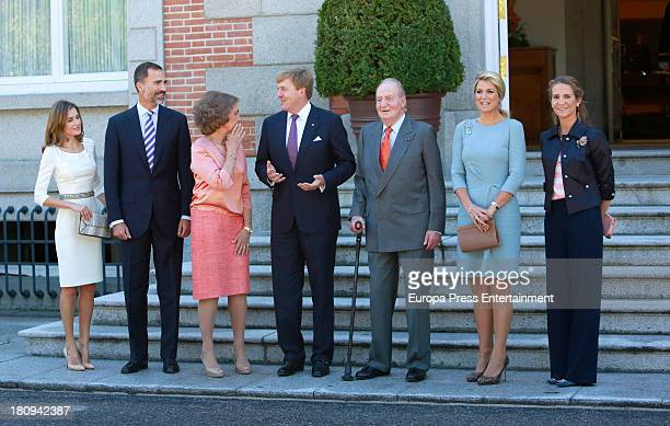 Princess Letizia of Spain Prince Felipe of Spain Queen Sofia of Spain King Juan Carlos and Princess Elena of Spain receive King Willem Alexander and...