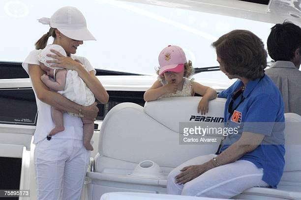 Princess Letizia of Spain Princess Sofia Princess Leonor and Queen Sofia of Spain chat on board of the 'Somni' during the 26th Copa del Rey Sailing...