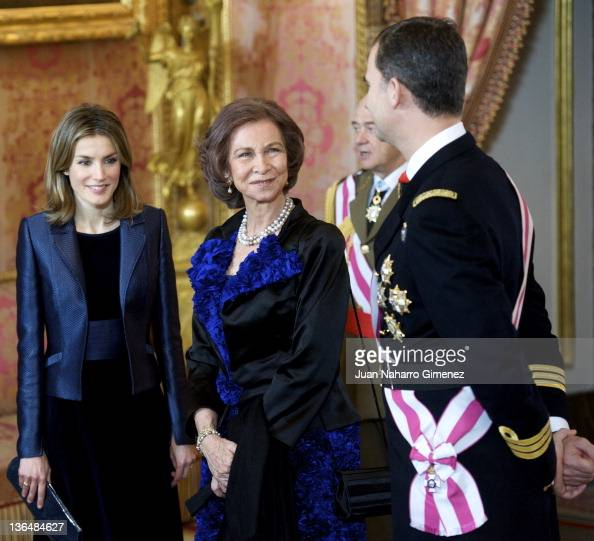 Princess Letizia of Spain Queen Sofia of Spain Prince Felipe of Spain attend the Pascua Militar Ceremony at Palacio Real on January 6 2012 in Madrid...